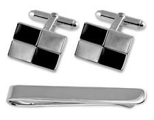 Sterling Silver Mother Of Pearl & Onyx Cufflinks Tie Clip Box Set