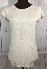 Gap Stretch Lightweight Pullover Sweater Women's Size Medium Beige Short Sleeve