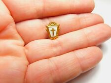 Small White Enamel Gold Religious Cross Shield Brooch Vintage