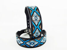 "14"" BLUE NAVAJO PAINTED WESTERN STYLE CUSTOM LEATHER CANINE DOG COLLAR SMALL"