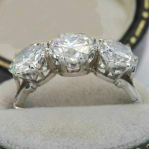 3.20Ctw Round Diamond Three-Stone Vintage Engagement Ring 14k White Gold Plated