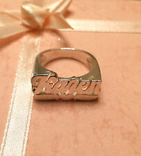 NAME RING PERSONALIZED STERLING SILVER ANY NAME*FLAT FACE HEART TAIL*USA SELLER