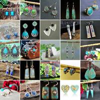 Lots Style 925 Silver Turquoise Dangle Ear Hook Boho Hoop Women Jewelry Earrings