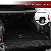 For 2007-2018 Silverado/Sierra 6.5' Blk Rubber Diamond Truck Bed Floor Mat Liner