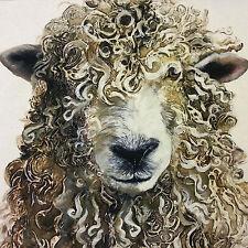 TEX EX ORGANIC COTTON FARMYARD FACES LONGWOOL RAM NATURAL CUSHION PANEL SHEEP