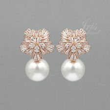 Rose Gold Plated Pearl Cubic Zirconia Wedding Drop Dangle Earrings 09840 Flower