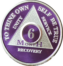 6 Month Purple Silver Plated AA Medallion Sobriety Chip Alcoholics Anonymous