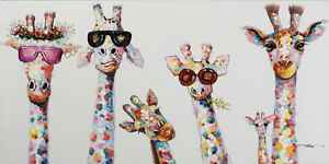 CURIOUS GIRAFFE COLOURFUL HOME DECOR LARGE WALL ART CANVAS PICTURE 20x30INCH