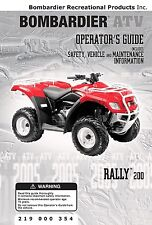Bombardier Rally 200, Quad ATV, 2005 Owners Manual Bound Book Free Shipping