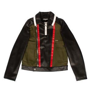 RRP €645 DSQUARED2 Biker Jacket Size 14Y PU Leather Colour Block Contrast Insert