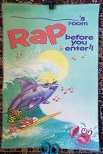RAP BEFORE YOU ENTER!! Surf Shark Laminated Poster 1990s Kids Teen Nostalgia Rad
