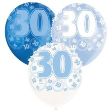 BLUE GLITZ LATEX BIRTHDAY BALLOONS, PACK OF 6, PEARLISED, HELIUM QUALITY 13-90