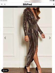 John Zack Rose Gold Wrap Long Dress New RRP £69