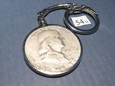 Key Chain Ring w/ 1954 D Franklin 90% Silver Half Dollar 50c  ~ neat gift idea