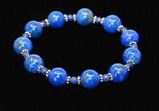 AAA Natural Lapis Lazuli & Bali Sterling Silver Bead Stretch Cord Bracelet