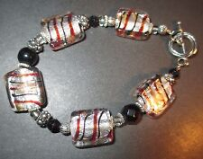 Art Bead Bracelet Silver Foil Bead Brown Black Stripes Art Glass New