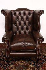 Poltrona chesterfield chester bergere queen anne inglese pelle marrone brown