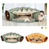 Cat Tunnel Bed Soft Plush Removable Toy Nest Mat Kitten Kitty Pets Collapsible