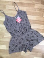 BNWT River Island Pacha Ibiza XS Playsuit Light Brown Broderie Anglaise Festival