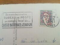 Timbre sur carte MARIANNE JEAN COCTEAU CACHET CAISSE NATIONALE D'ÉPARGNE 1963