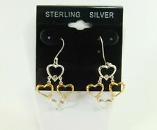 2 Tone Dangle Earrings Jm00024 925 Sterling Silver Multi. Heart