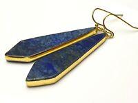 Lapis Lazuli blaue Edelstein Ohrhänger Ohrringe Pyramide Spitzen Tropfen Schmuck