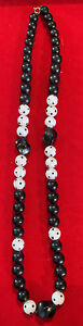 """Black and White Beaded Necklace - Unique Design - Approx 24"""""""