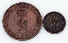 German States 2-Coin Lot, 1868 3-Pfennig 1870 1-Kreuzer