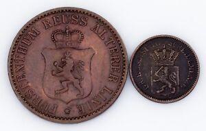 German States 2-Coin Lot, 1868 3-Pfennig 1870 1-Kreuzer