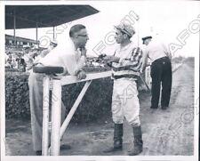1956 Horse Trainer J D Puckett with Jockey Thomas Fico Press Photo