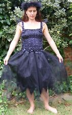 Adult fairy dress fancy dress dressing up black goth costume festival one size