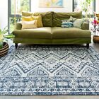 Blue Tribal Moroccan Rugs Eco Cotton Living Room Rug Faded Woven Large Mat