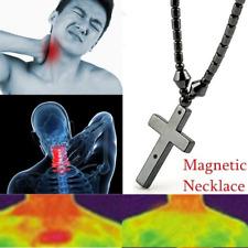 Men Women Magnetic Hematite Cross Beads Black Magnetic Healthy Jewelry Necklace