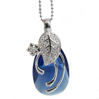 Bleu Marine Larme Feuille Collier en Argent 925 avec Swarovski Elements Cristal