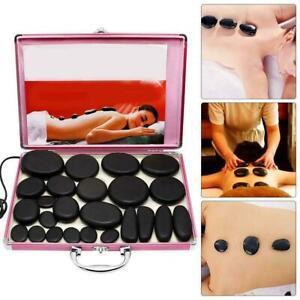HOT STONE MASSAGE KITs Heat Therapy Relaxing Spa Treatment Black Basalt 24 Rocks