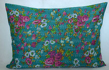 Floral Pure Cotton Cushion Pillow Cover Kantha Style Pink Pillow Sham Decor