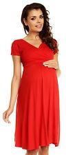 Zeta Ville - Women�€™s Maternity Wrap V-neck Summer Dress - Short Sleeves - 108c