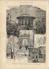 Stampa antica LA SPEZIA insieme di vedute Liguria 1887 Old antique print