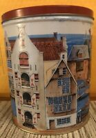 "OLD AMSTERDAM Trail's End Gourmet Popcorn TIN 8"" TALL Empty Vintage PreOwned"