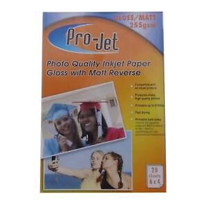 "PRO-JET GLOSS MATTE DOUBLE SIDED 6X4"" INKJET PHOTO PAPER 255GSM - 20 SHEET PACKS"
