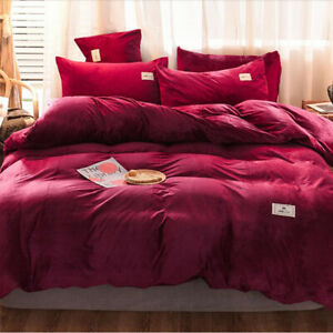 Red Thicken Flannel Coral Fleece Bedd Set Duvet Cover Bed Sheet Sets Four-piece