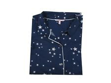 Victoria's Secret Dreamer Flannel Pajama Jacket Blue White Stars Print Large
