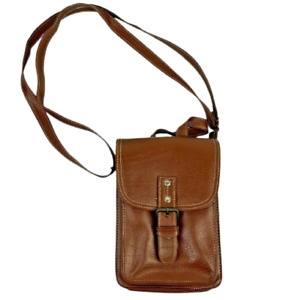 Vintage Brown Vinyl Pouch Satchel Bag Phone/Wallet Holder *New Condition