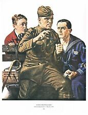 "Norman Rockwell Marines Army Navy Air Force print: ""THE LOST BATTALION"" 11 x 15"""