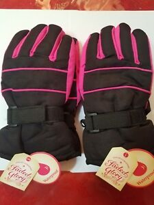 2 Pairs FD Solid Snow Gloves S-M Size Kids Black Soot Waterproof New Tags