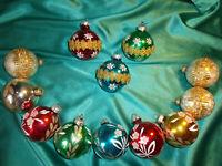 ~ 12 alte große Christbaumkugeln Glas rot blau grün gold Eislack Borte Blumen
