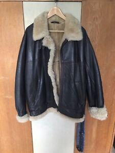 Vintage genuine sheepskin leather aviator coat Acne style Oversized 42 UK 12