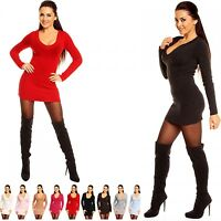 Zeta Ville - Women's Stretch Knitted Jumper Pullover Hooded Mini-Dress - 908z