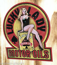 """Old school pin up Autocollant """"Lucky Lady"""" rockabilly 50th autocollant voiture & biker usa"""