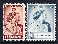 Bahamas 1948 Royal Silver wedding SG 194-195 estampillada sin montar o nunca montada.